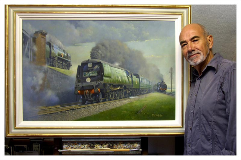 Philip D Hawkins with his painting of Battledown Flyover.
